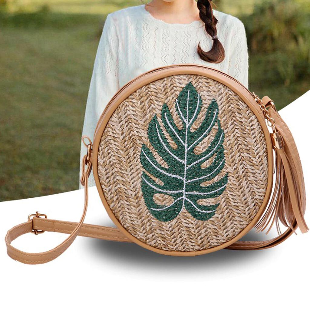 Straw Chain Round Crossbody Bag For Women
