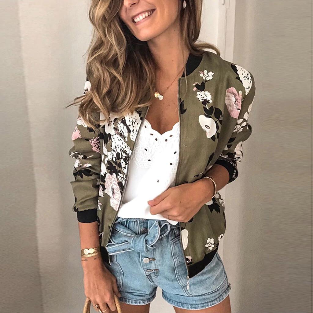 Women Flowers Print Bomber Jacket