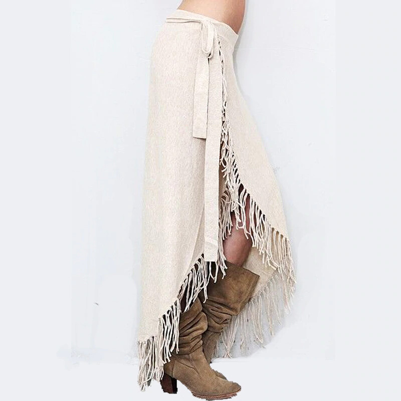 "Winter Long Tassel Maxi Skirt ""Paris"""