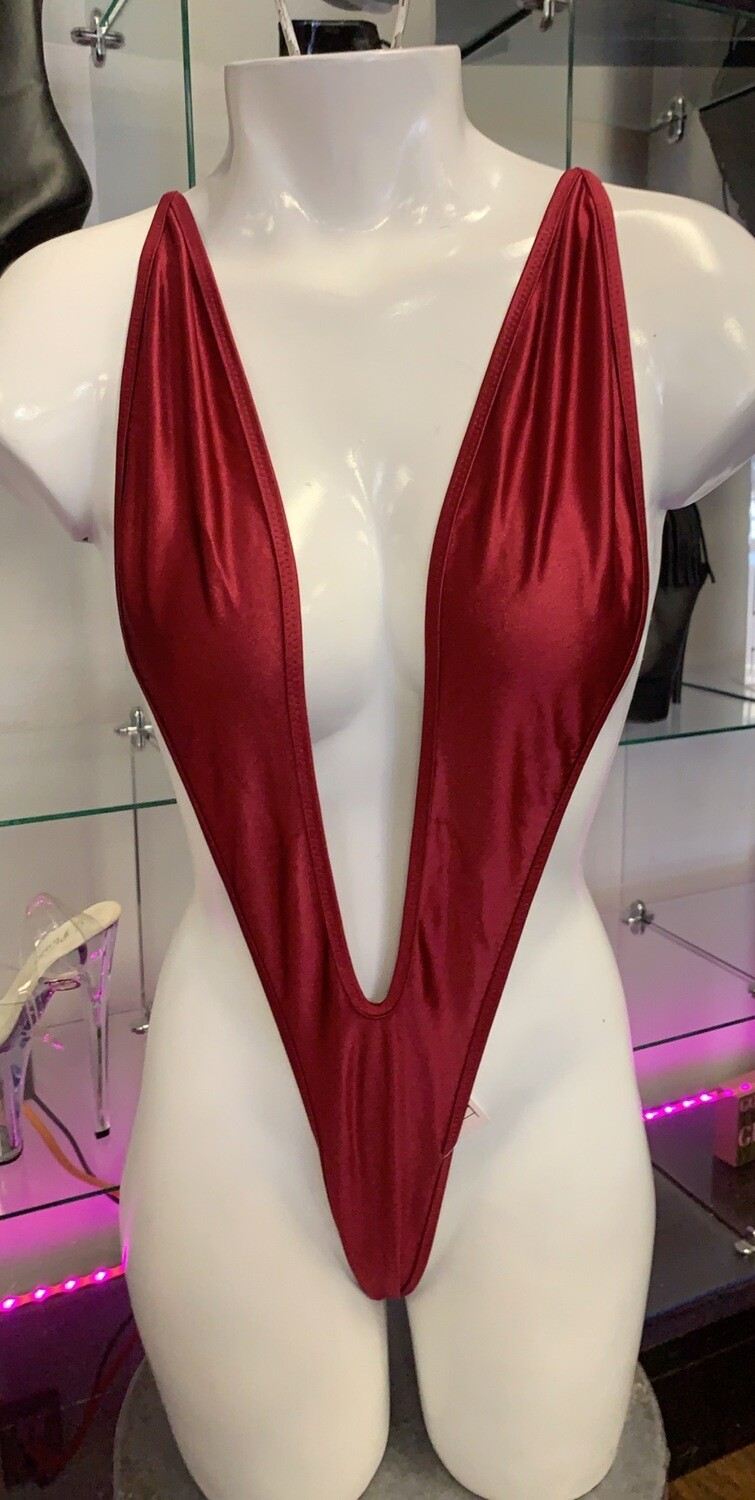 347 Burgundy slingshot one piece