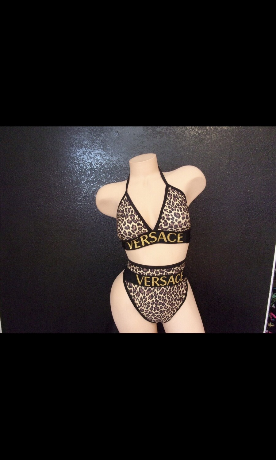 ck leopard versace highwaist thong set