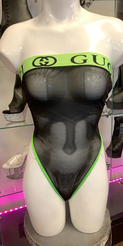 P-905 neo green gg black mesh one piece