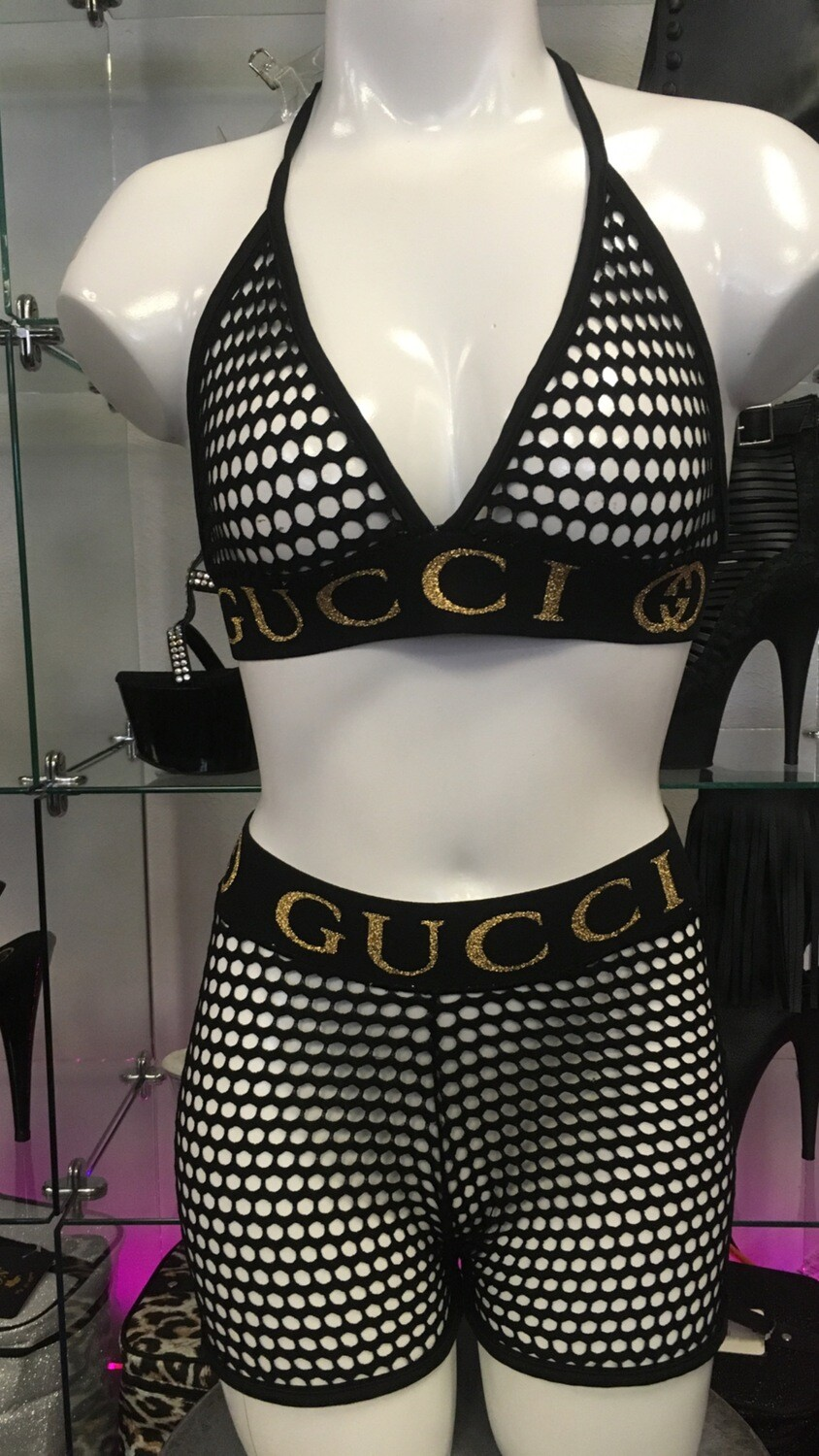P-32 Black Net/Gold GG Short Set