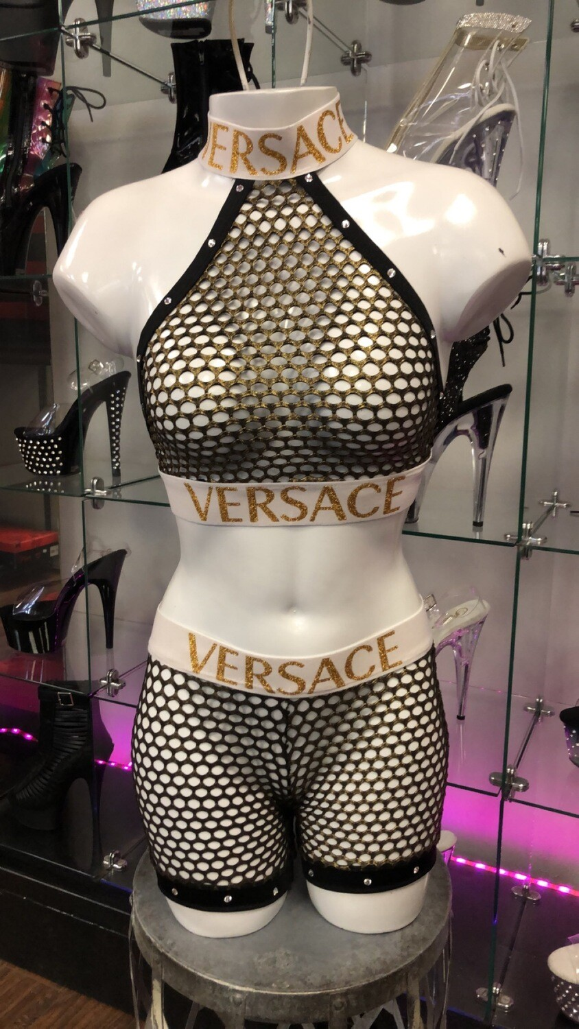 HG HW112ds black net versace choker short set