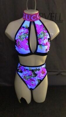Ck black/white stripe floral gg keyhole highwaist thong set