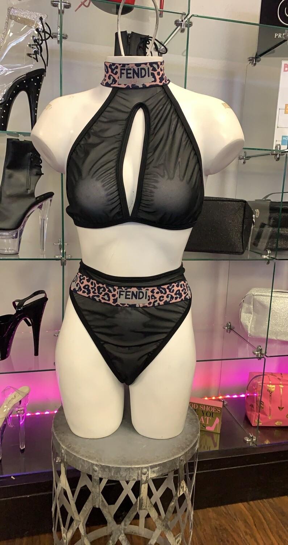 ck black mesh pink leopard ff keyhole highwaist thong set