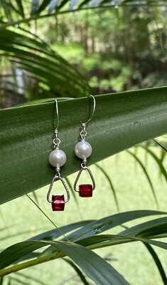 Fire and snow earrings