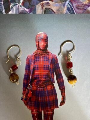 Red earth drop earrings
