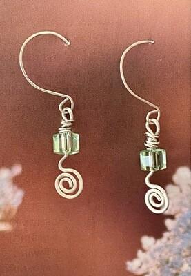 Chrysolite swirl earrings