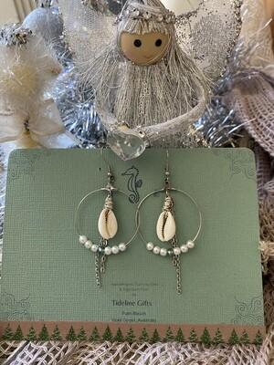 Cowrie Shell Hoop Drop Earrings in Silver & Stainless Steel