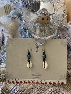African Blue & Cowrie Shell Earrings