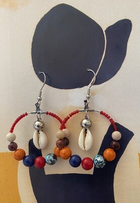 African Cowrie Shell Earrings