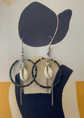 African Style Cowrie Shell Hoop Drop Earrings in Silver & Stainless Steel