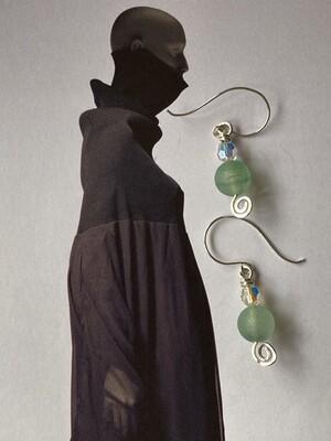 Ocean crackle & sparkle green wave earrings