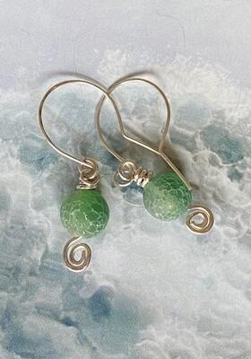 Ocean crackle green wave earrings