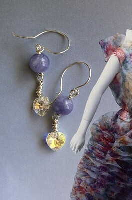 Angelite & heart crystal earrings