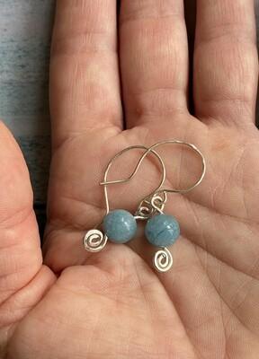 Aquamarine & Silver Swirl earrings