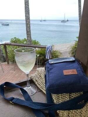 Blue canvas & cotton zipper messenger bag