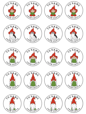 Gnome 'From Santa' Stickers