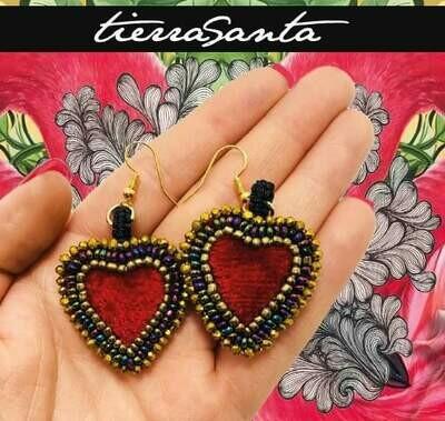 Tierra Santa Red Heart Earrings