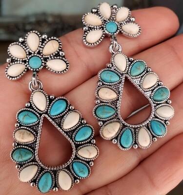Teal Stones Earrings