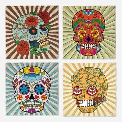 Vers sugar skull coasters