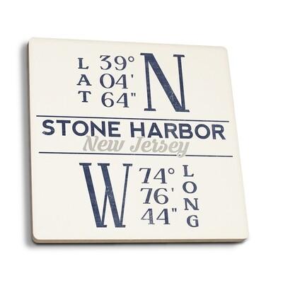 Stone Harbor - New Jersey Latitude Longitude (Blue) Coaster