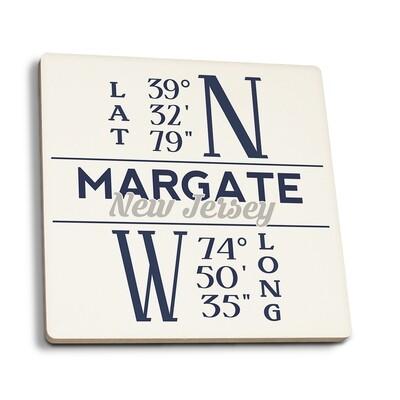 Margate - New Jersey Latitude and Longitude Blue Coasters