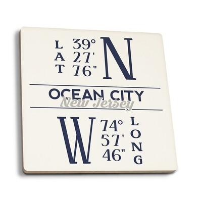 Ocean City - New Jersey Latitude and Longitude Blue Coasters
