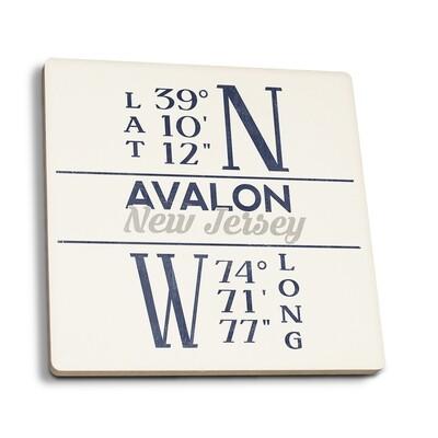 Avalon - Blue New Jersey Latitude and Longitude Coaster