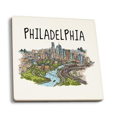 Philadelphia - Pennsylvania Line Drawing Coaster