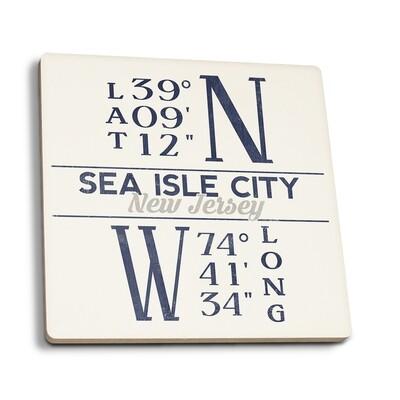 Sea Isle City - New Jersey Latitude and Longitude Coaster