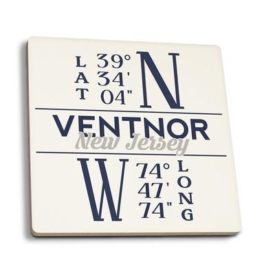 Ventnor - New Jersey Latitude and Longitude Blue Coasters