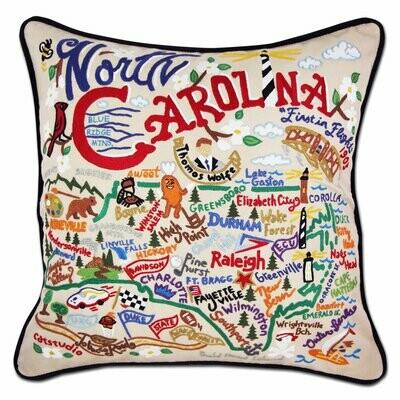 North Carolina Hand-Embroidered Pillow