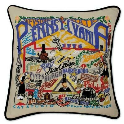 Pennsylvannia Hand-Embroidered Pillow