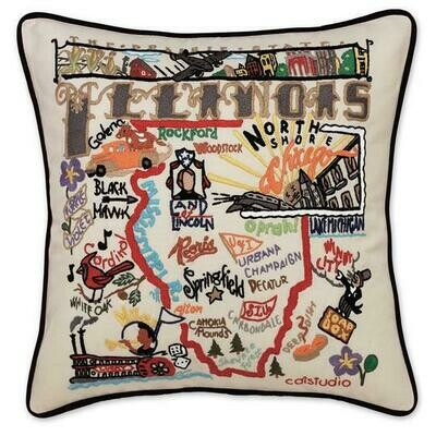 Illinois Hand-Embroidered Pillow