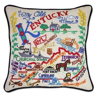 Kentucky Hand-Embroidered Pillow