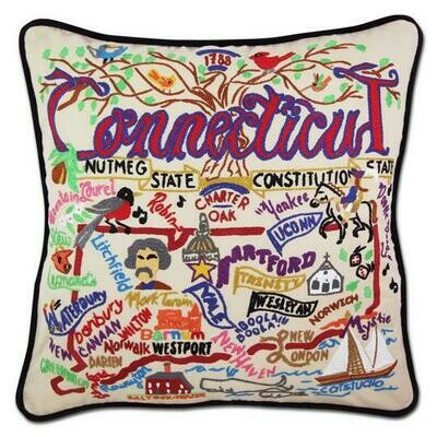 Connecticut Hand-Embroidered Pillow