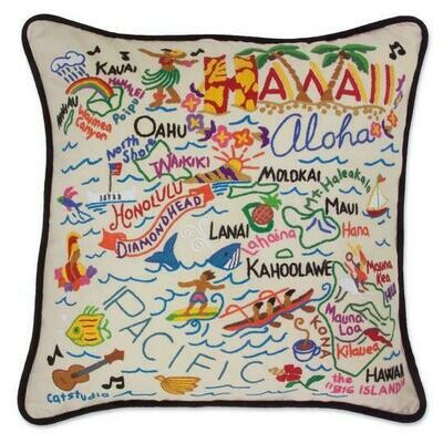 Hawaii Hand-Embroidered Pillow