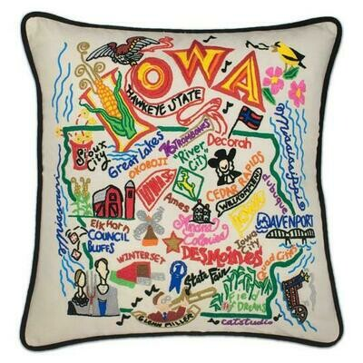 Iowa Hand-Embroidered Pillow