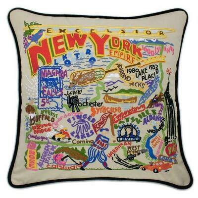 New York Hand-Embroidered Pillow