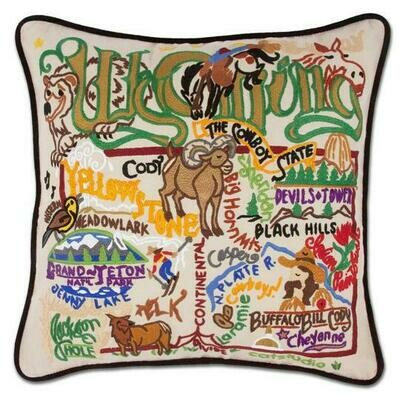 Wyoming Hand-Embroidered Pillow