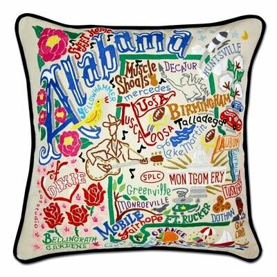 Alabama Hand-Embroidered Pillow