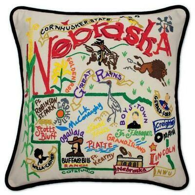 Nebraska Hand-Embroidered Pillow