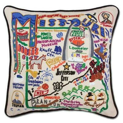 Missouri Hand-Embroidered Pillow