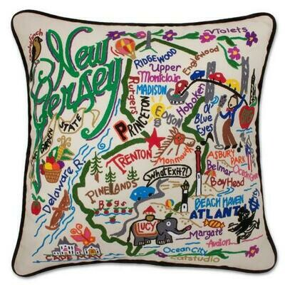 New Jersey Hand-Embroidered Pillow