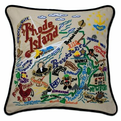 Rhode Island Hand-Embroidered Pillow