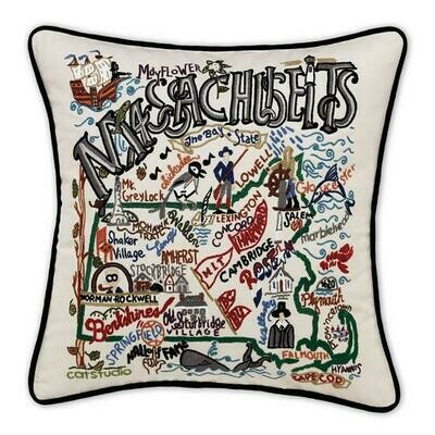 Massachusetts Hand-Embroidered Pillow