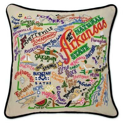 Arkansas Hand-Embroidered Pillow