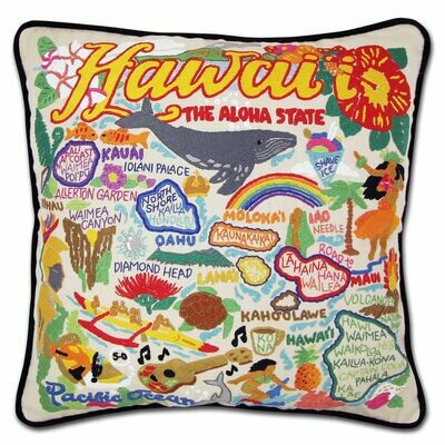 Hawaii Isles Hand-Embroidered Pillow